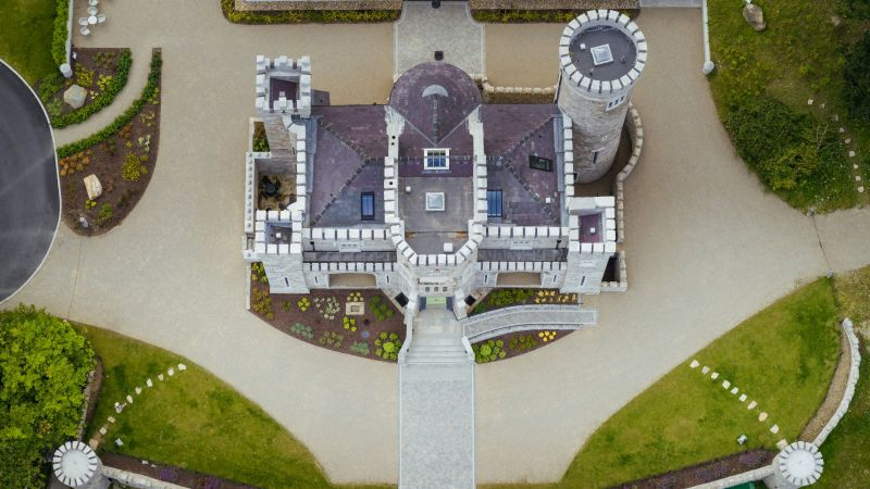 Castle aerial shot at Killeavy Castle Estate