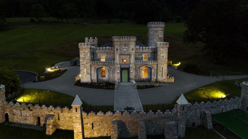 Castle by night at Killeavy Castle Estate
